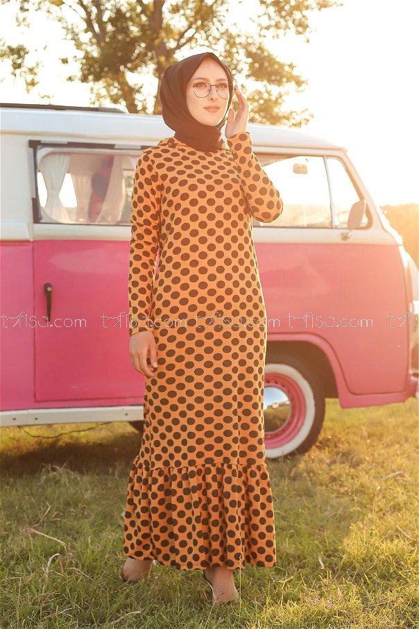 Kapşonlu Volanlı Elbise Hardal - 3100