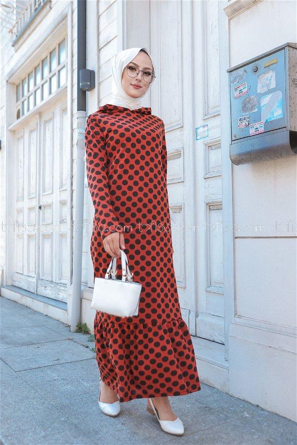 Kapşonlu Volanlı Elbise Kiremit - 3100