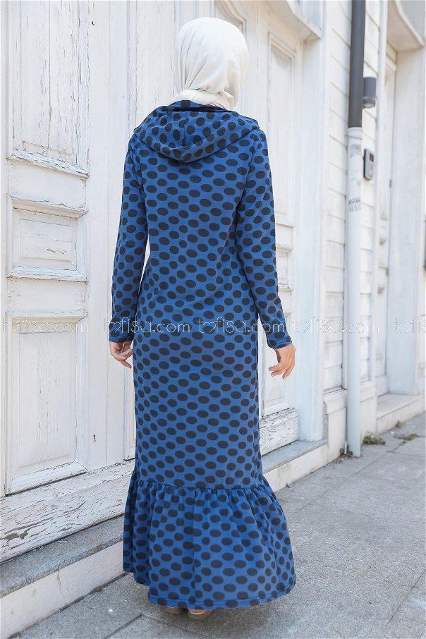Kapşonlu Volanlı Elbise Saks - 3100