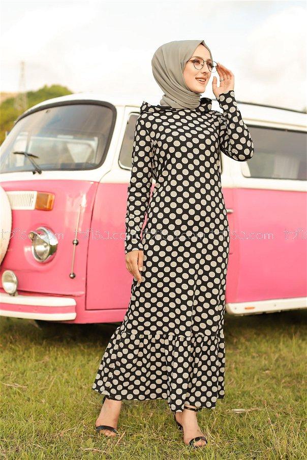Kapşonlu Volanlı Elbise Siyah - 3100