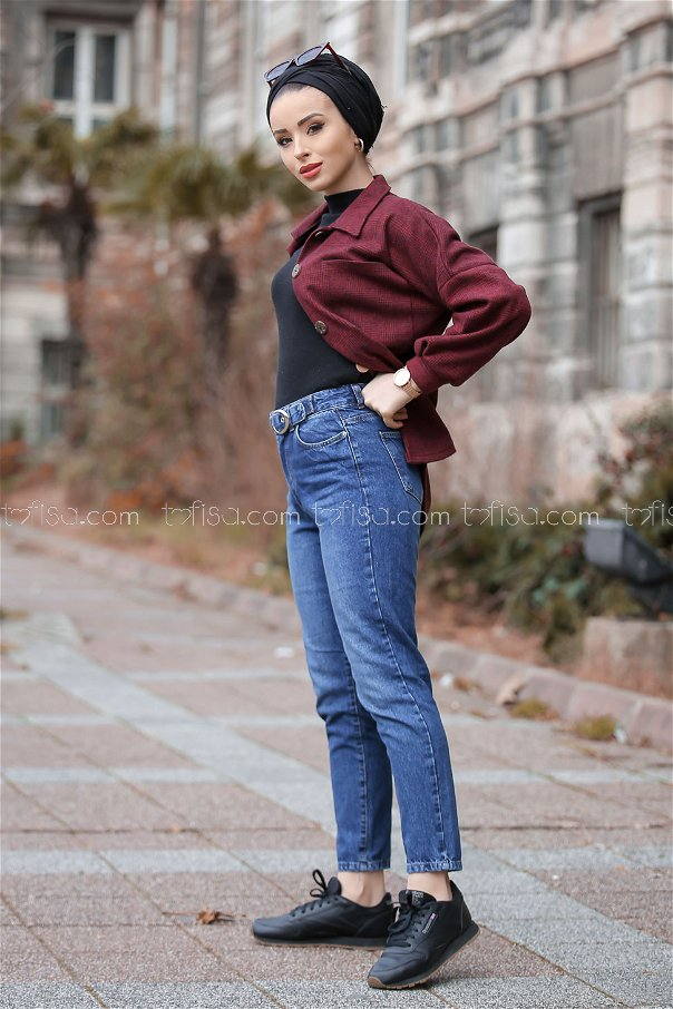 Kemer Detay Kot Pantolon Mavi - 8305