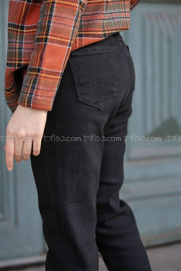 Kemer Detay Kot Pantolon Siyah - 8305
