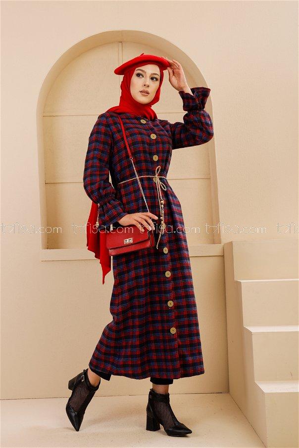 Kemerli Elbise Kırmızı Saks - 9100