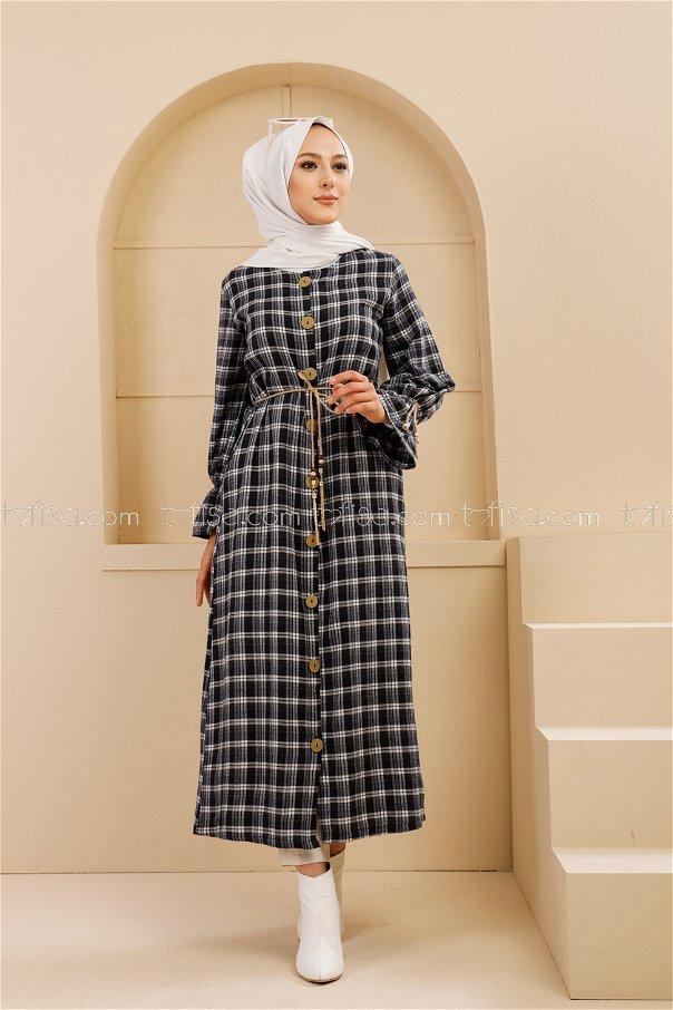 Kemerli Elbise Lacivert Ekru - 9100