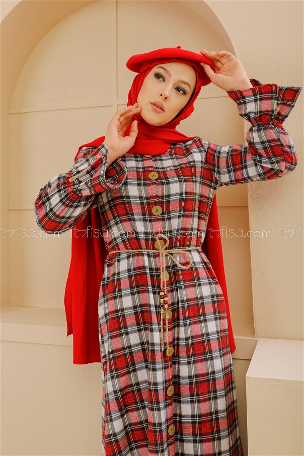Kemerli Elbise Lacivert Kırmızı - 9103