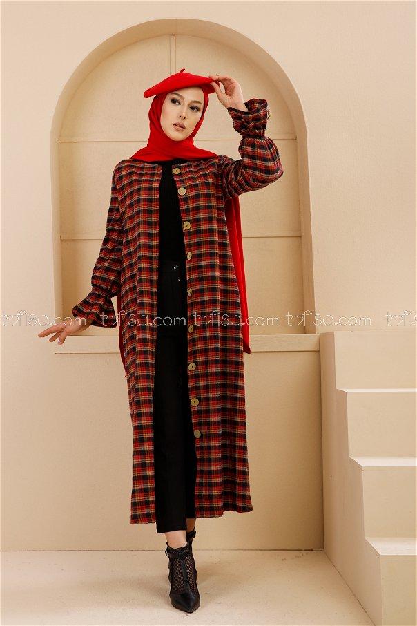 Kemerli Elbise Sarı Kırmızı - 9100