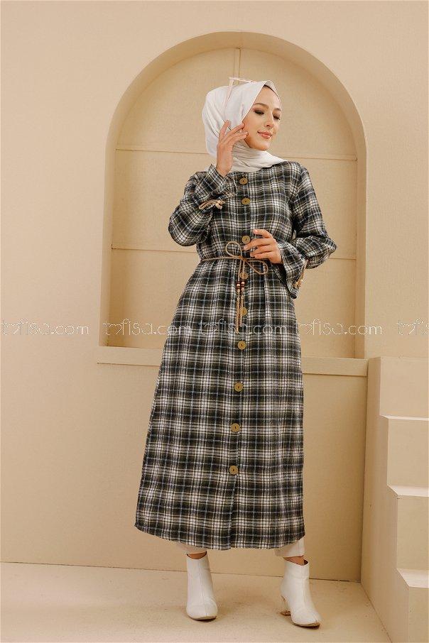 Kemerli Elbise Siyah Haki - 9101