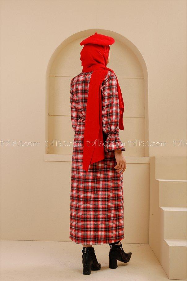 Kemerli Elbise Siyah Kırmızı - 9101