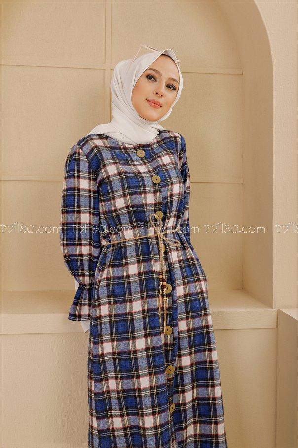 Kemerli Elbise Siyah Saks - 9103