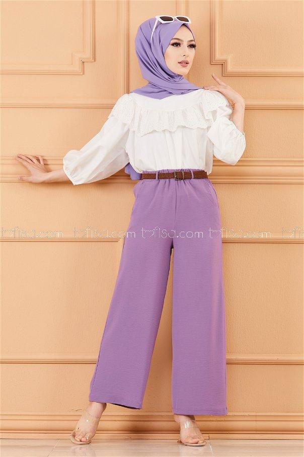 Kemerlı Pantolon LILA - 20075