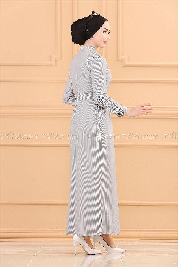 King Striped Long Shirt Black - 3016