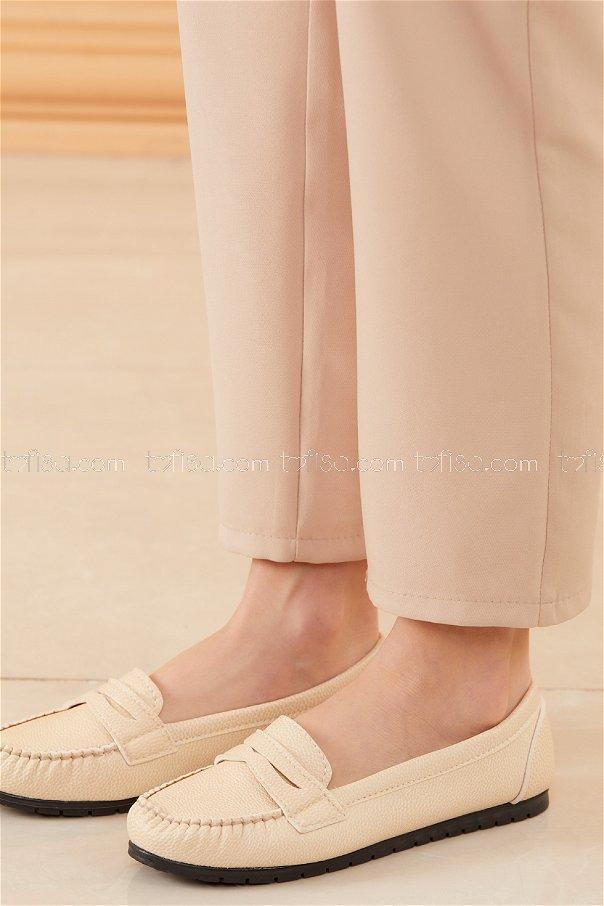 Klasık Babet Ayakkabı KREM - 20523