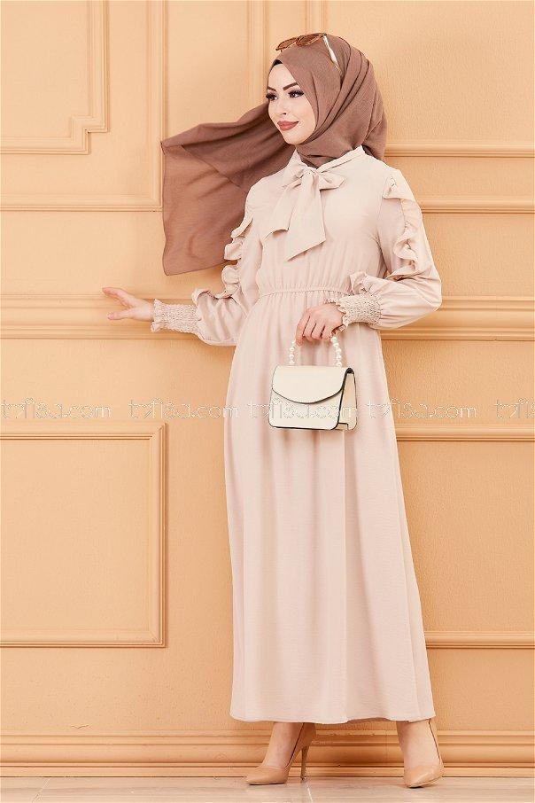 Kol Detaylı Elbise BEJ - 20162