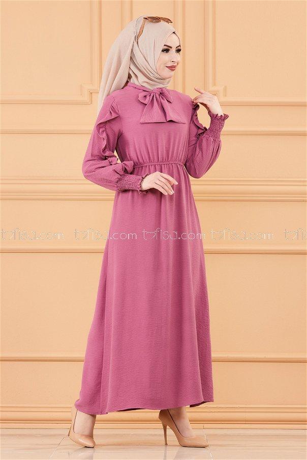 Kol Detaylı Elbise LILA - 20162
