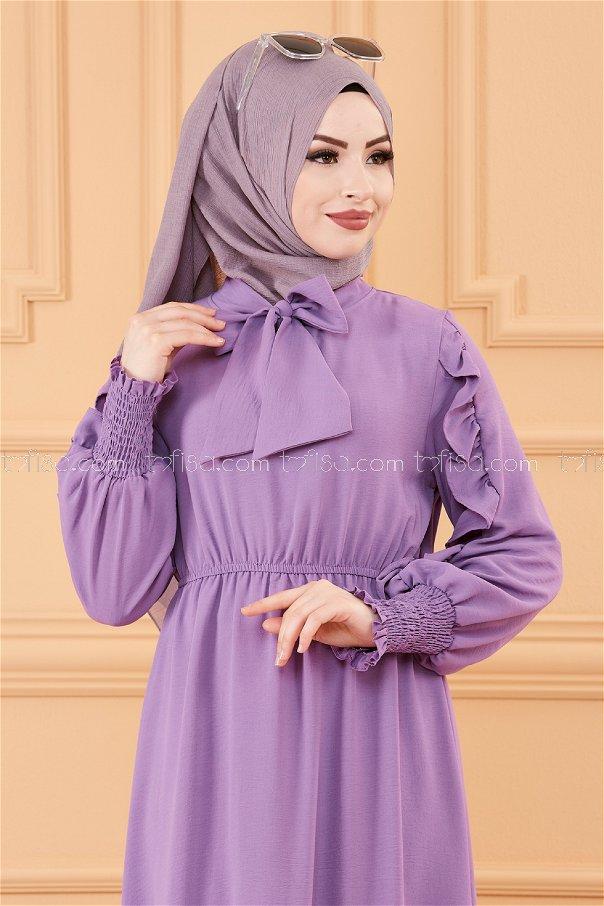 Kol Detaylı Elbise MOR - 20162