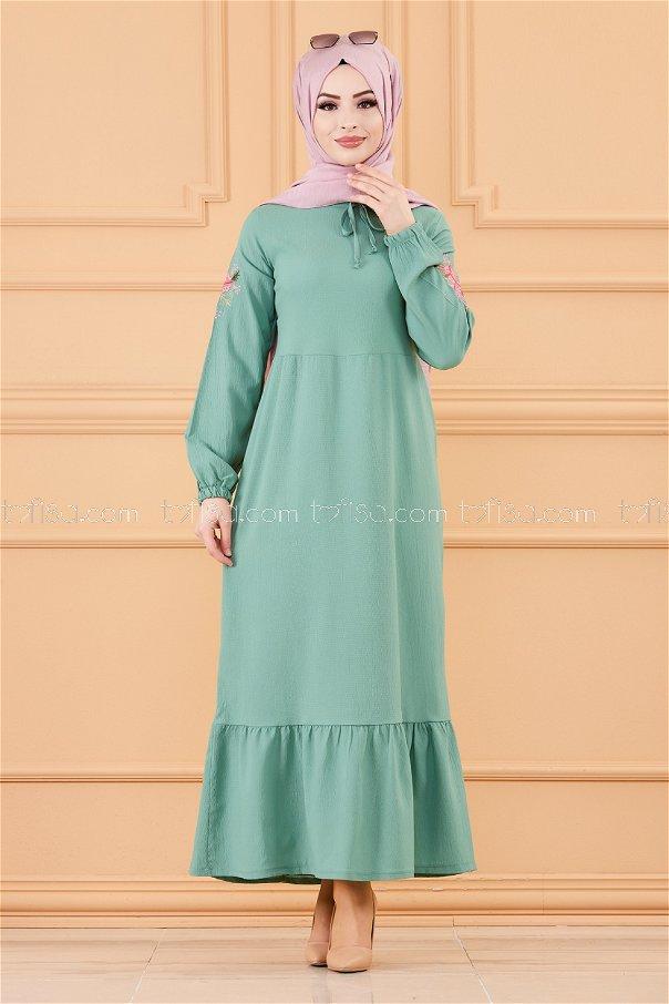 Kol Nakıslı Elbise ACIK YESIL - 3596