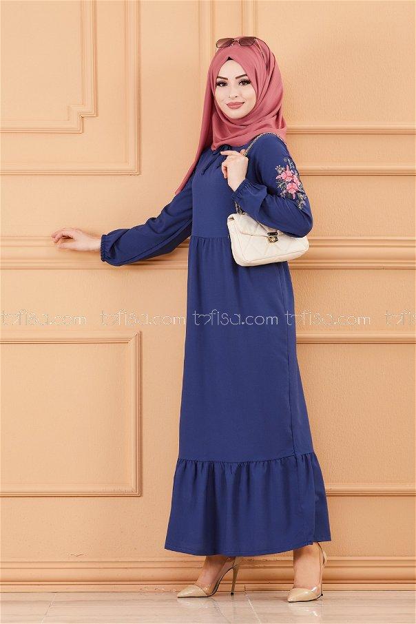 Kol Nakıslı Elbise PETROL - 3596