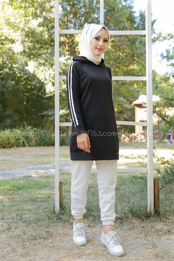 Kol Şeritli Tunik Siyah - 2828