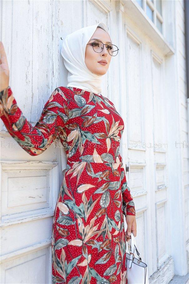 Krep Elbise Bordo - 8442