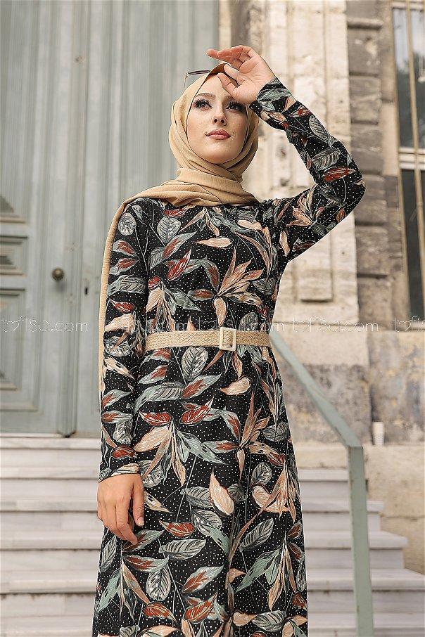 Krep Elbise Siyah Mint - 8442