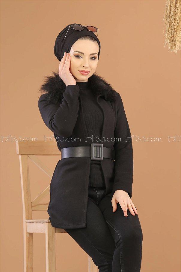 Kürk Detay Ceket Siyah - 8280