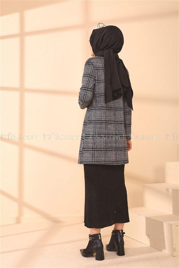 Kuşaklı Ceket Gri Siyah - 3339