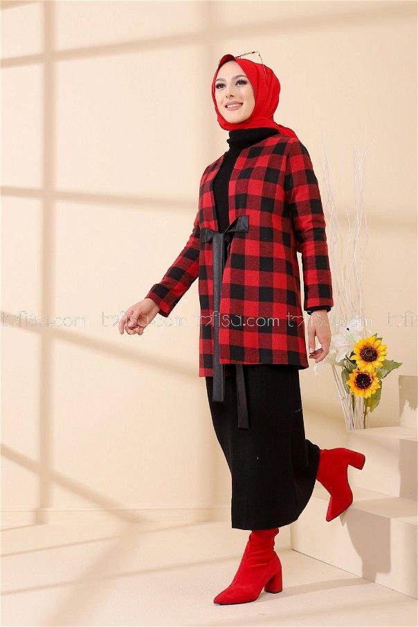 Kapşonlu Panço Kırmızı - 3390