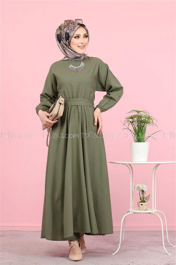 Kuşaklı Elbise Haki - 3052