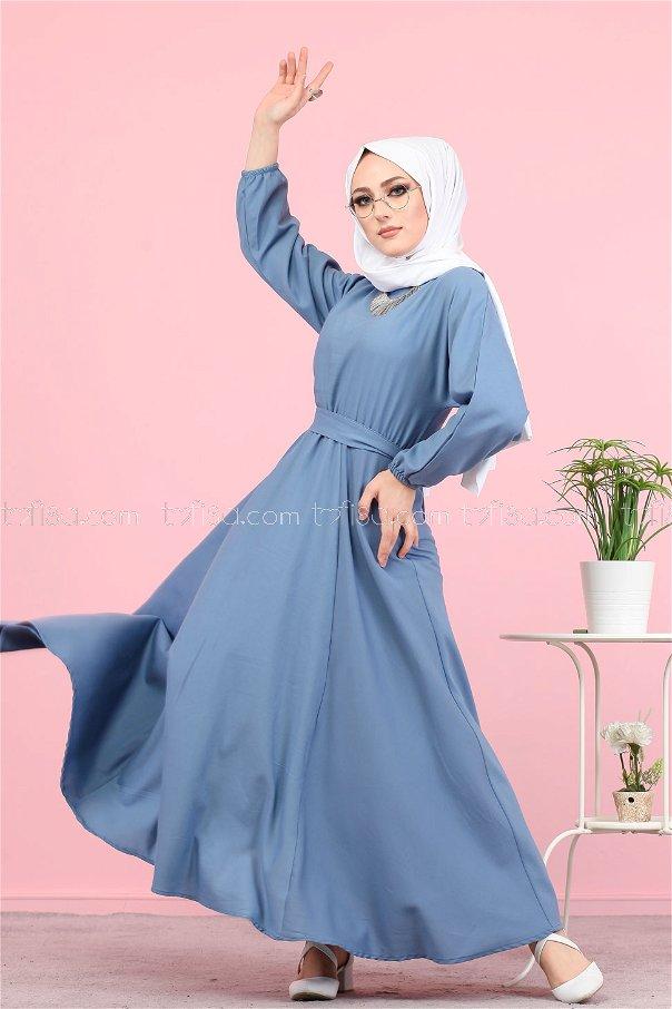 Kuşaklı Elbise İndigo - 3052