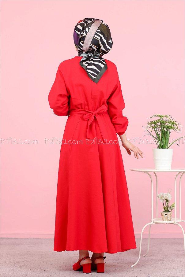 Kuşaklı Elbise Kırmızı - 3052