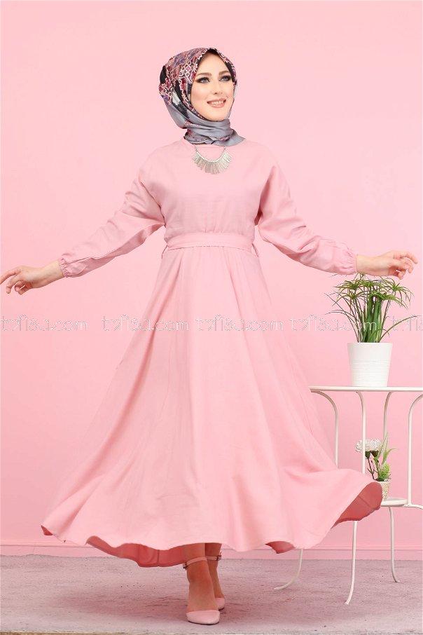 Kuşaklı Elbise Pudra - 3052
