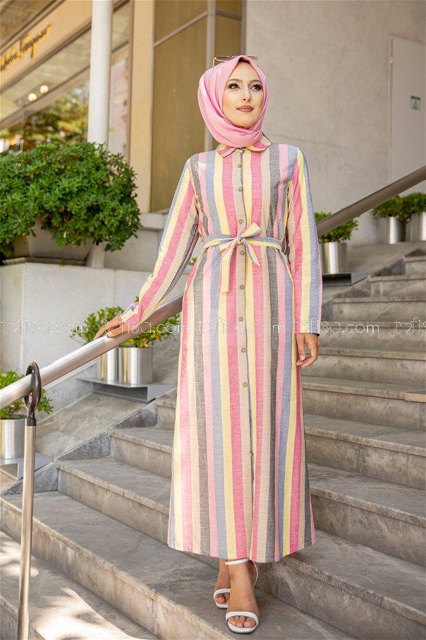 Kuşaklı Elbise Sarı Vizon - 9057