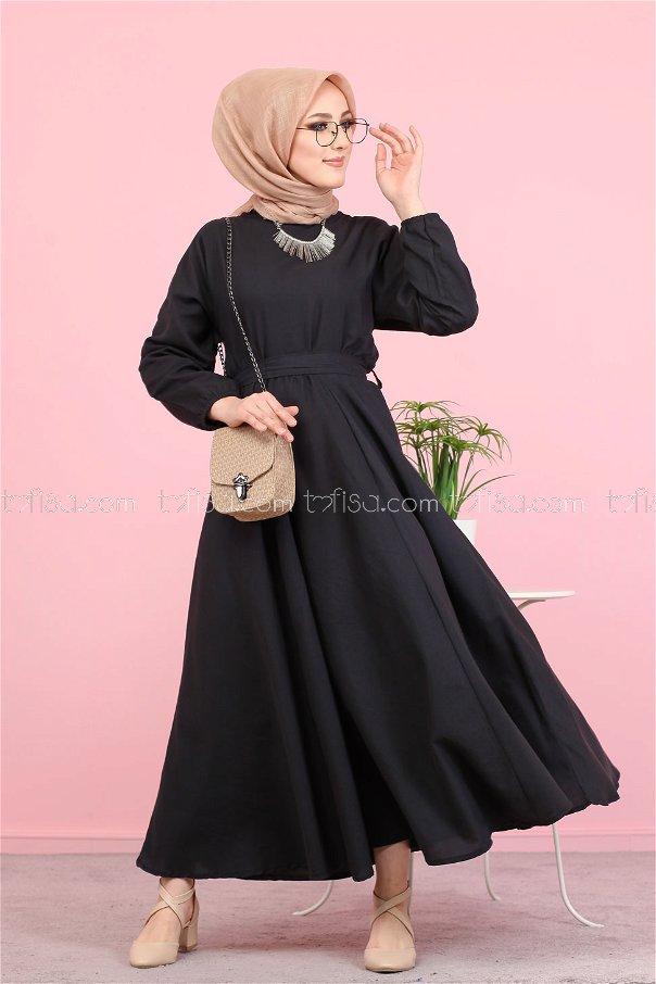 Kuşaklı Elbise Siyah - 3052