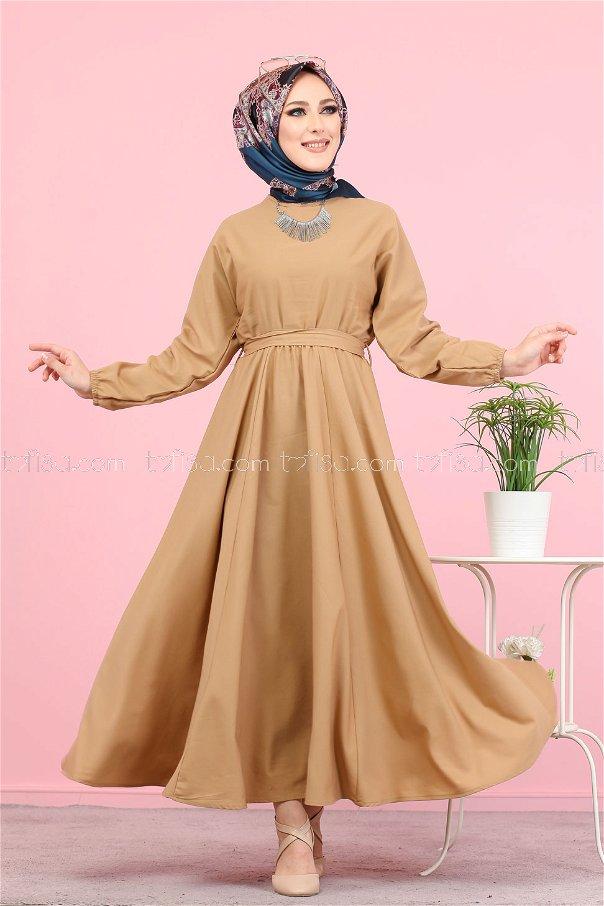 Kuşaklı Elbise Vizon - 3052