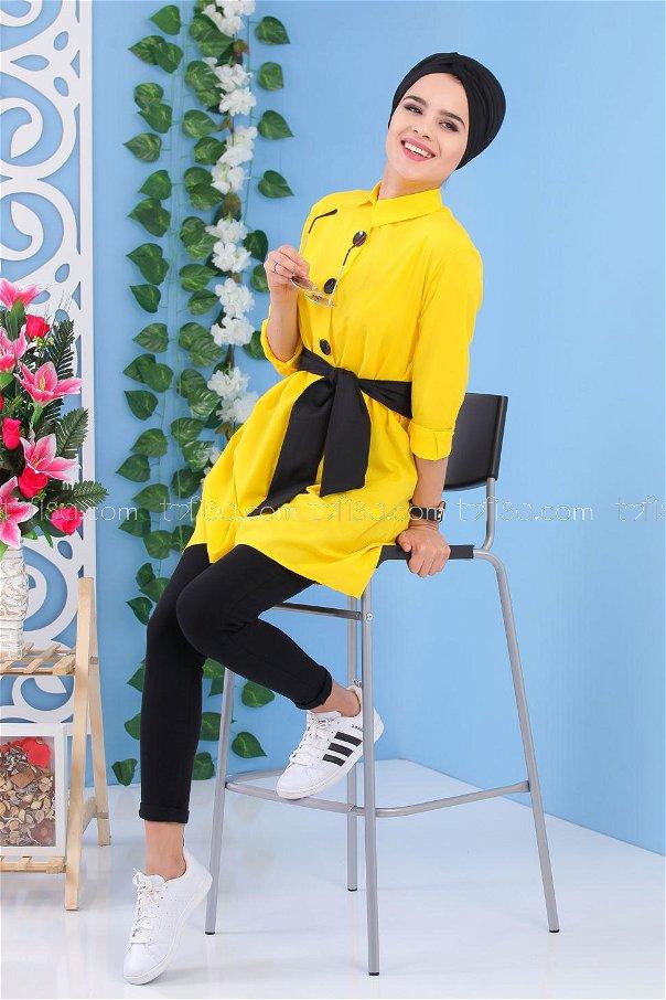 Kuşaklı Tunik Sarı - 02 7170