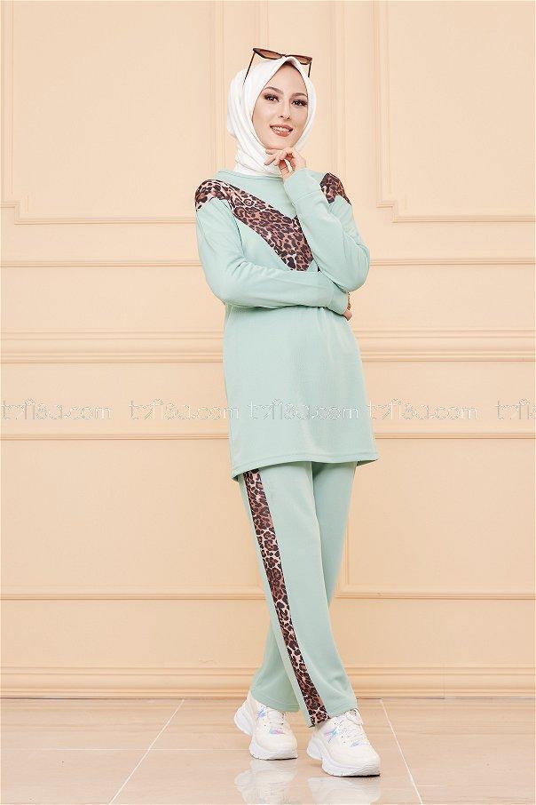 Leoparlı Tunik Pantolon Mint - 02 6997