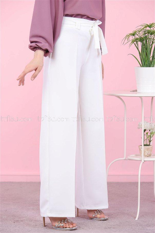 Loose Leg Pants White - 8501