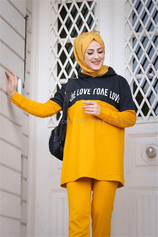Love Baskılı Tunik Pantolon Hardal - 8397