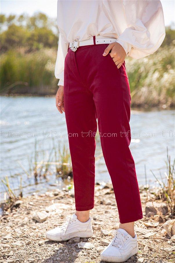 Lycra Gabardine Pant Claret Red - 8580