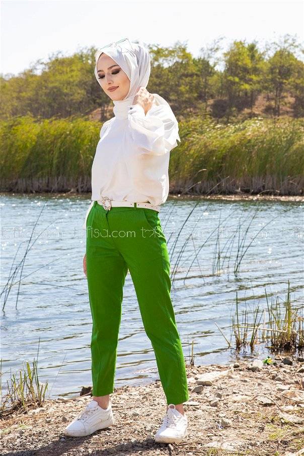 Lycra Gabardine Pant Green - 8580