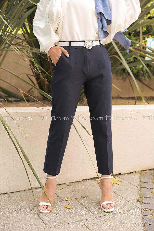 Lycra Gabardine Pant Navy Blue - 8580