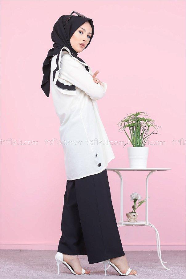 Nakışlı Tunik Siyah - 3076