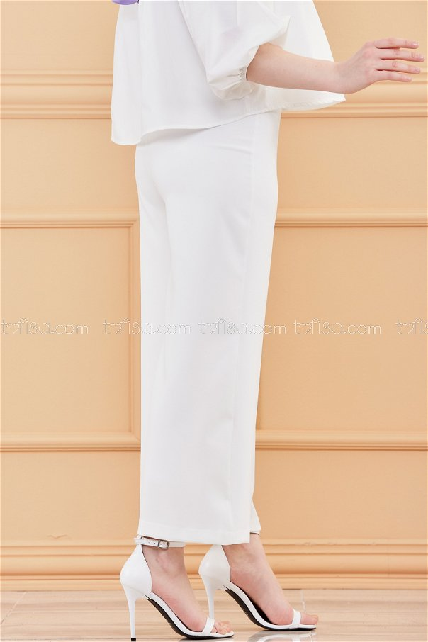 Ön Fermuarlı Pantolon BEYAZ - 3525