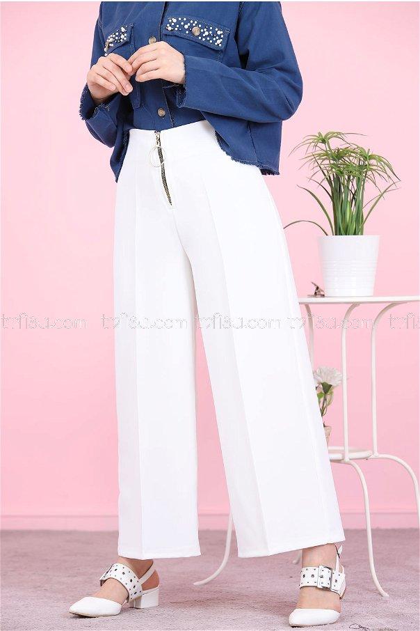 Ön Fermuarlı Pantolon Beyaz - 8500