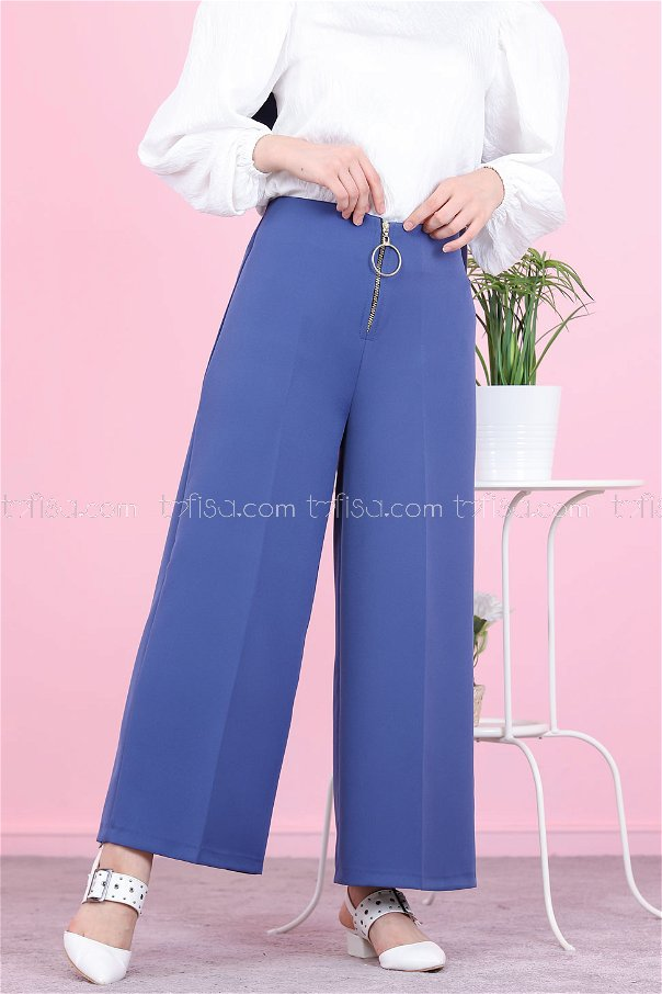Ön Fermuarlı Pantolon Mavi - 8500