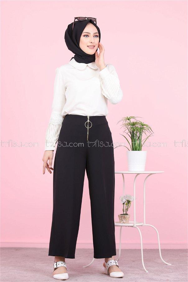 Ön Fermuarlı Pantolon Siyah - 8500