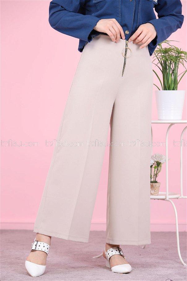 Ön Fermuarlı Pantolon Taş - 8500