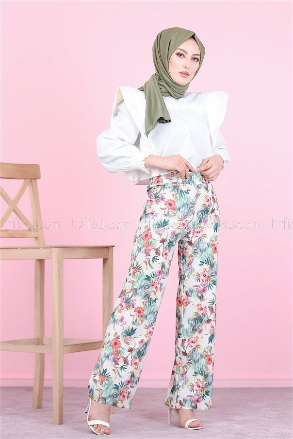 PANT PATTERNED GREEN -8522