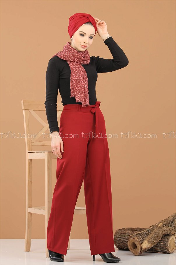 pants belt claret red - 6575