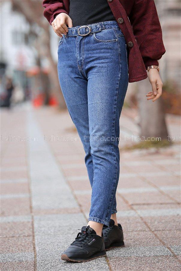 Pants Jeans Details belt blue - 8305